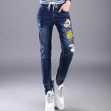 2017 summer new fashion brand cartoon pattern printed cotton pencil jeans women was thin elastic jeans female wj558 free send