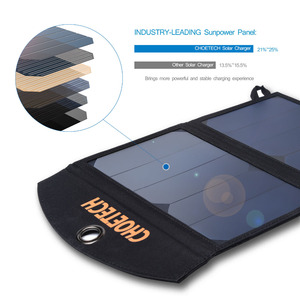 Image 3 - CHOETECH 19W Waterproof Solar Charger Foldable Outdoor Solar Panel Battery USB Charger with Auto Detect Tech For iPhone Samsung