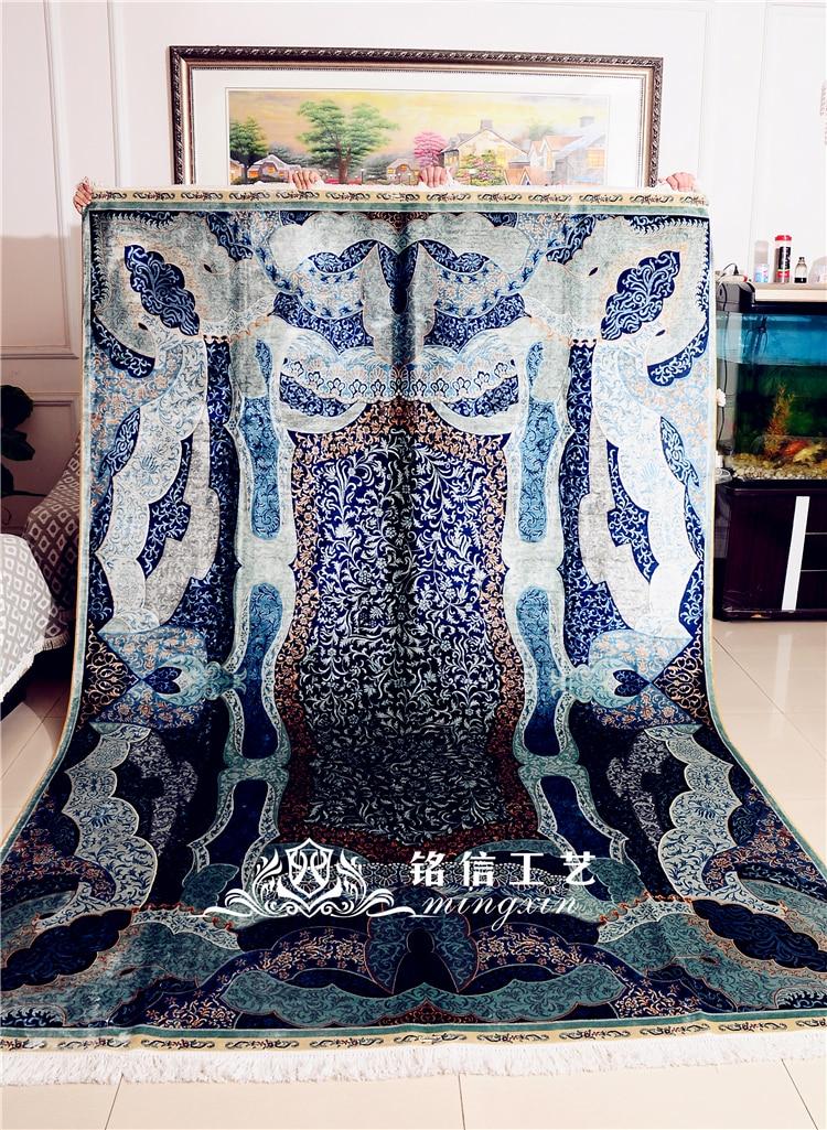 6.56 'x9. 84' tapis en soie fait main turquie bleu médaillon noué à la main tapis