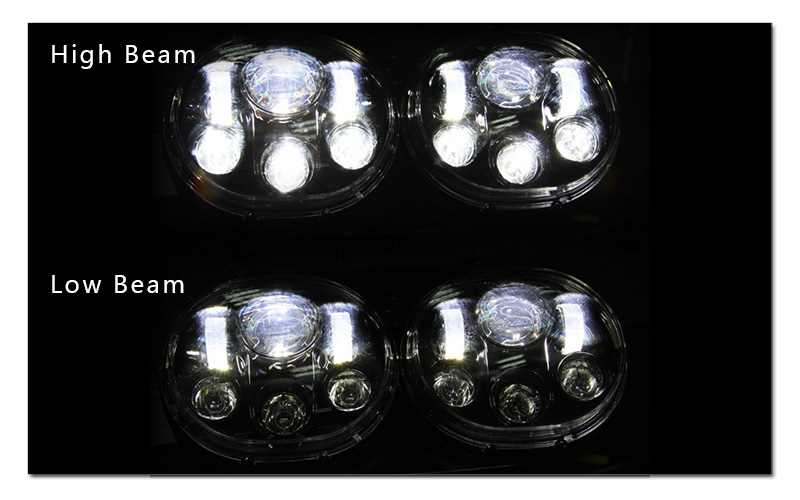 5.75 inch LED Motorcycle Headlight 5-34 Daymaker Projector Dual LED Headlight for Harley Davidson Road Glide 2004-2013 (4)