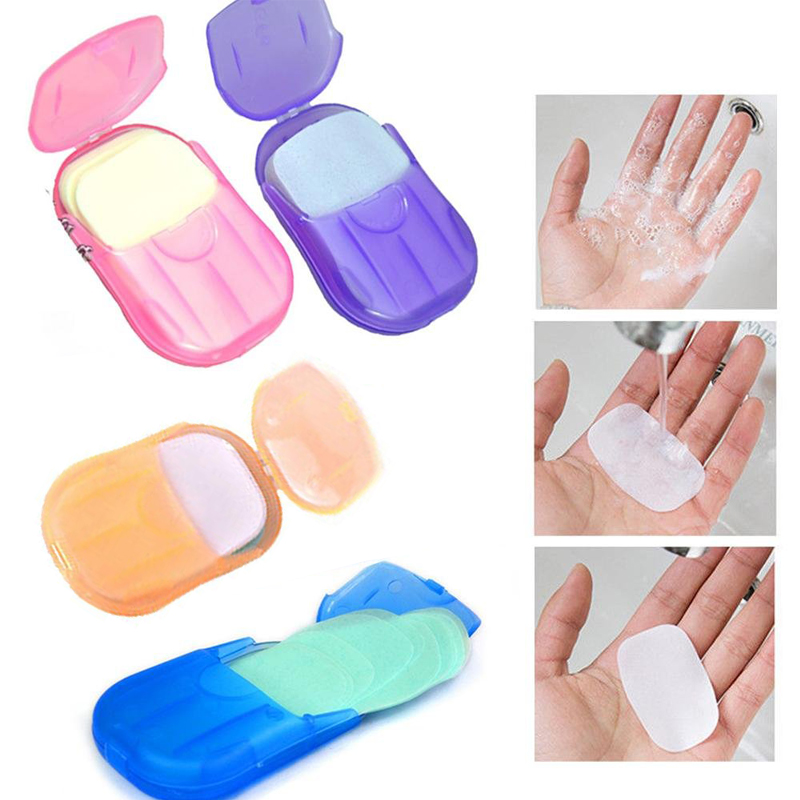 80Pcs Outdoor Portable Mini Soap Scented Paper Sheets Slice Bath Washing Hand Cleaning Care Case For Camping Hiking Color Random