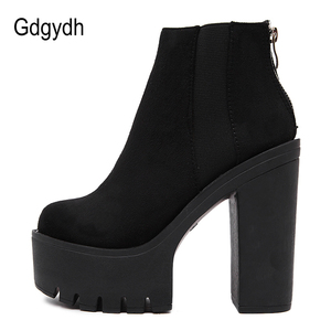 Image 2 - Gdgydh Fashion Black Ankle Boots For Women Thick Heels Spring Autumn Flock Platform Shoes High Heels Black Zipper Ladies Boots