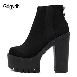 Image 2 - Gdgydh moda siyah yarım çizmeler kadınlar için kalın topuklu bahar sonbahar akın platformu yüksek topuklu ayakkabı siyah fermuar bayan botları