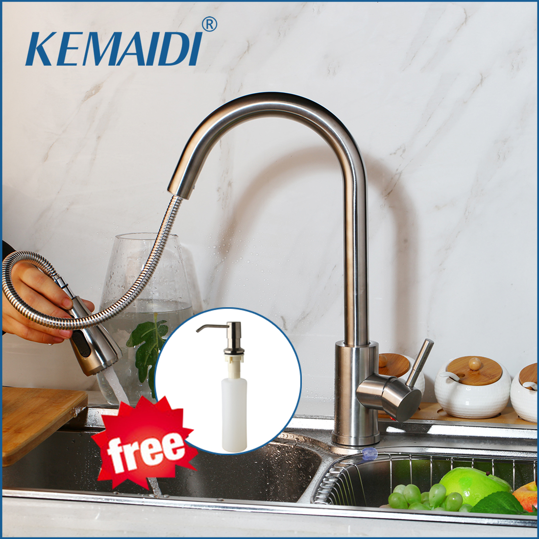 KEMAIDI Kitchen Faucet Brushed Nickel Black Chrome Swivel Mixer Tap Pull Out Spray Kitchen Tap Mixer