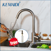 KEMAIDI Kitchen Faucet Brushed Nickel /Black/Chrome / Swivel Mixer Tap Pull Out Spray Kitchen Tap Mixer With Free Soap Dispenser