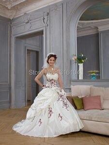 Image 2 - Robes de mariée gothique, Vintage, avec Corset, blanc rouge deux tons