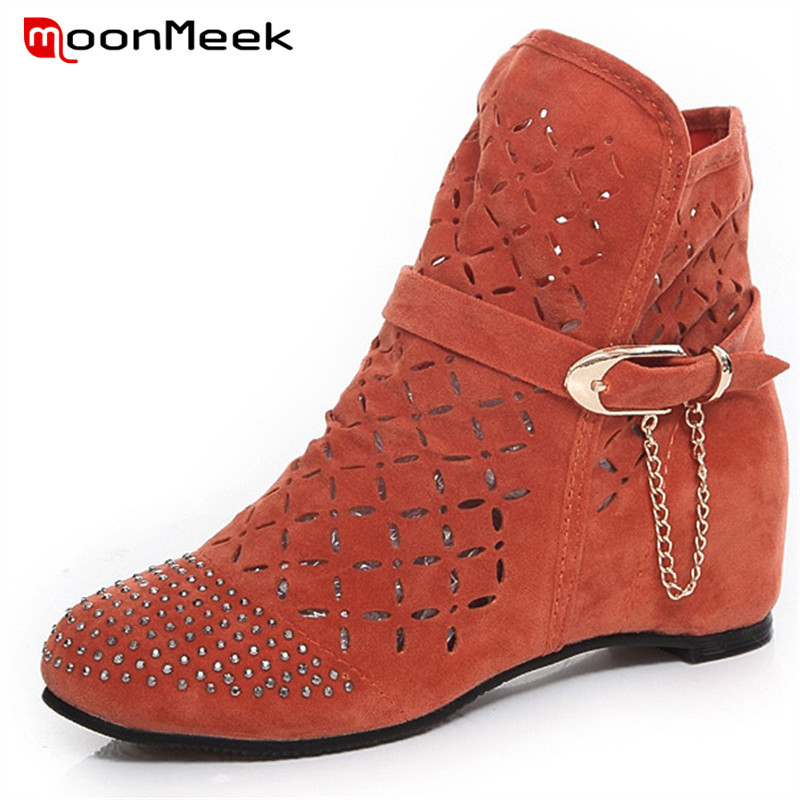MoonMeek HOT sale 2018 elegant round toe ankle boots casual pu leather ladies boots low heel woman brand boots big size shoes vinlle 2018 women autumn shoes ankle boots khaki pu leather square low heel round toe ladies motorcycle shoes size 34 39