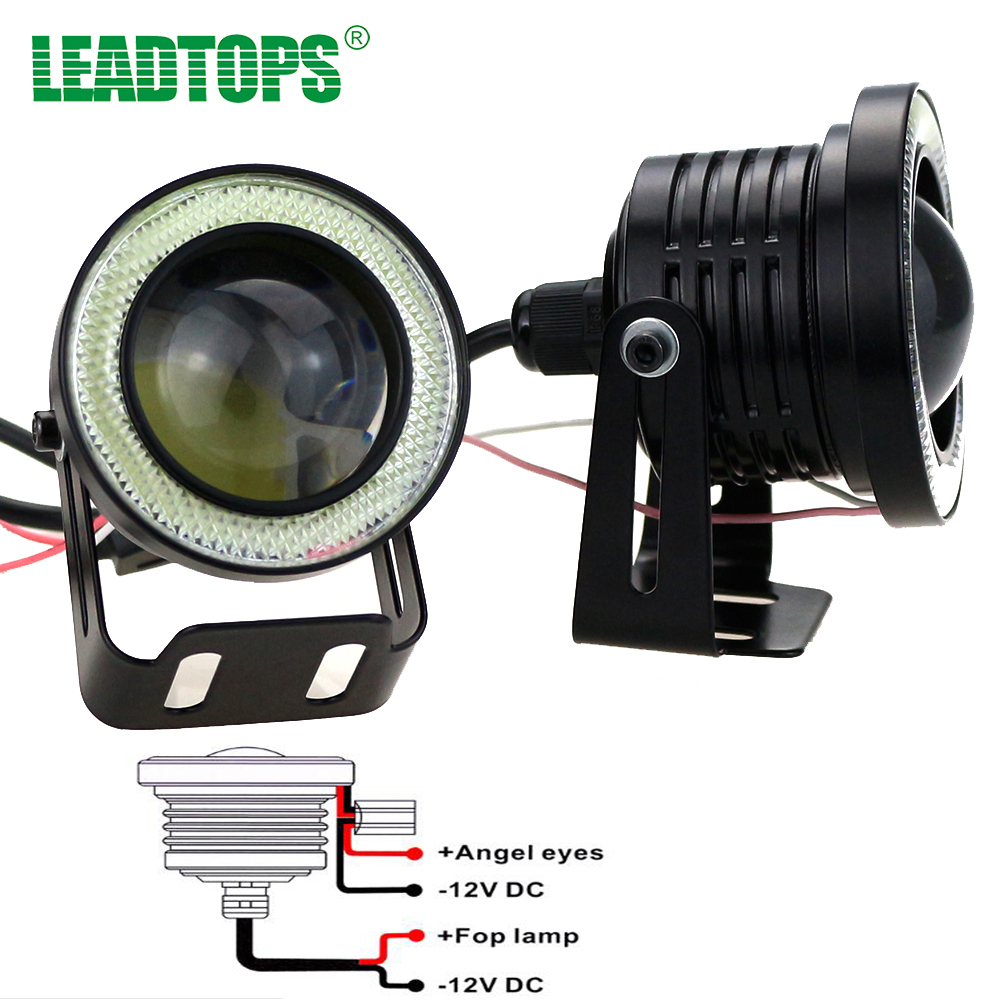 LEADTOPS Car-styling  DRL Daytime Running Light 12v Aluminium Alloy Led COB Angel Eye Fog Light White Car Auto Blue Lens BJ leadtops car led lens fog light eye refit fish fog lamp hawk eagle eye daytime running lights 12v automobile for audi ae