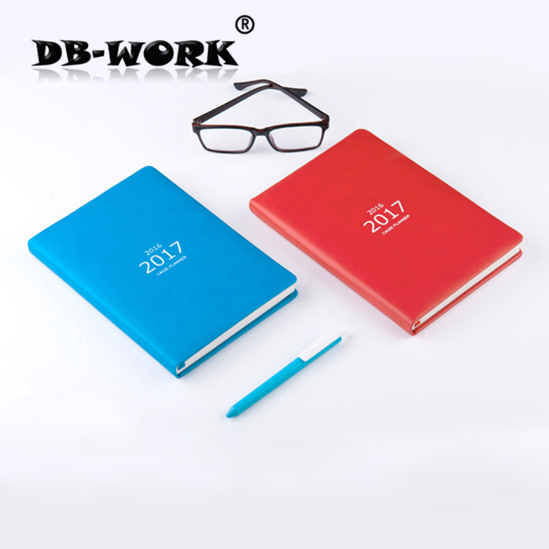 где купить  2017 Business Leather Notebook Diet Diary project handbook of 2016 business efficiency calendar notepad Korean creative notebook  по лучшей цене
