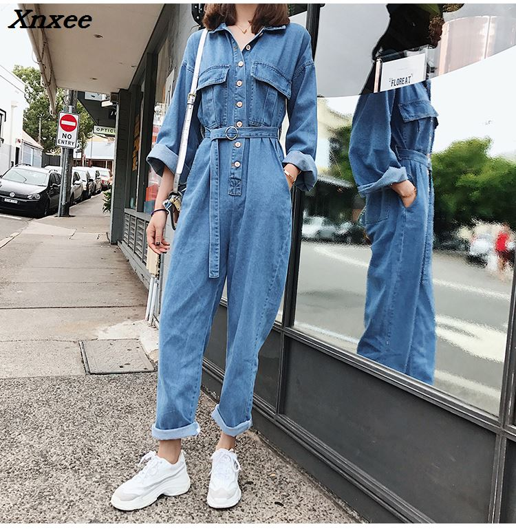 2018 Spring Umpsuit Autumn Macacao Feminino Conjoined Denim Overalls Casual Jumpsuit Jumpsuits Playsuit Female Xnxee