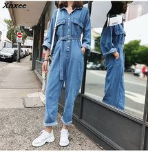 2018 Spring Umpsuit Autumn Macacao Feminino Conjoined Denim Overalls Casual Jumpsuit Jumpsuits Playsuit Overalls Female Xnxee стоимость
