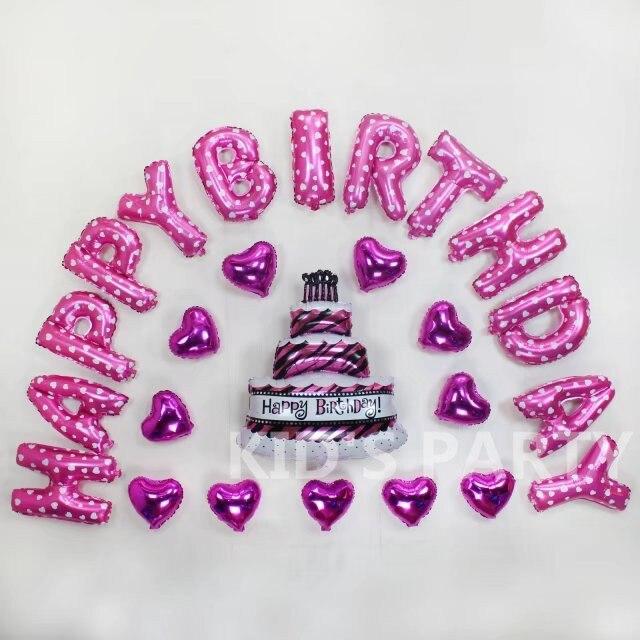 25 Teilesatz 16 Inch Luftballons Herz Kuchen Rosa Brief Alles Gute