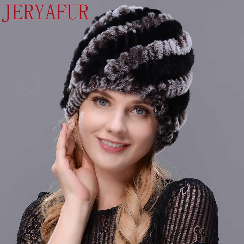 JERYAFUR Adam kadın gerçek kürk şapka boynuz tavşan kürk el yapımı kürk bir örgü şapka kadın kış kayak şapkası kap ücretsiz kargo