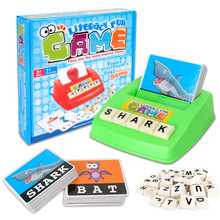 [Funny] Literacy fun game Kids English Word Puzzle Develop Toy Baby Learning & Educational Read Alphabet Cards lTyper Toys gift