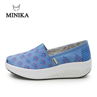 c939abe05 Minika Women Canvas Shoes Breathable Swing Shoes Woman Multicolor Walking  Wedges Toning Shape Ups Lose Weight