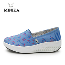 Minika Women Canvas Shoes Breathable Swing Woman Multicolor Walking Wedges Toning shape ups Lose Weight Slimming