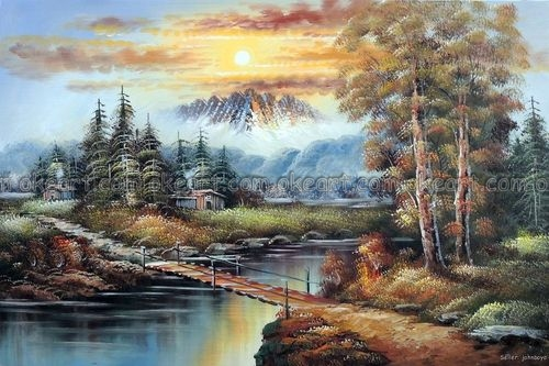 Animal Wall Murals Wallpaper 100 Hand Painted Mountain Sunset Hunting Fishing Cabins