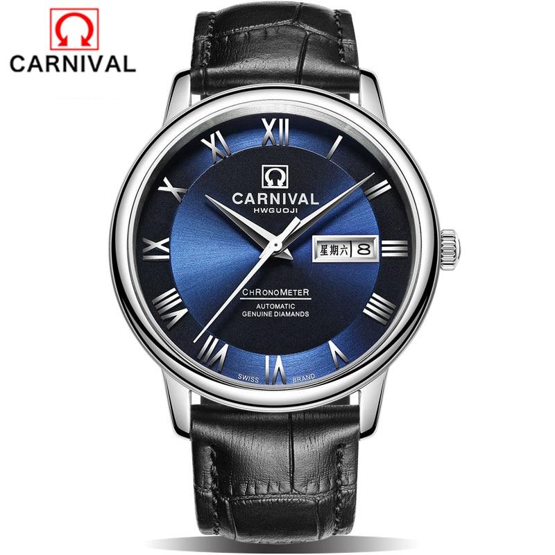 2018 carnaval montre mécanique hommes marque de luxe hommes montres automatiques saphir montre-bracelet mâle étanche Reloj Hombre