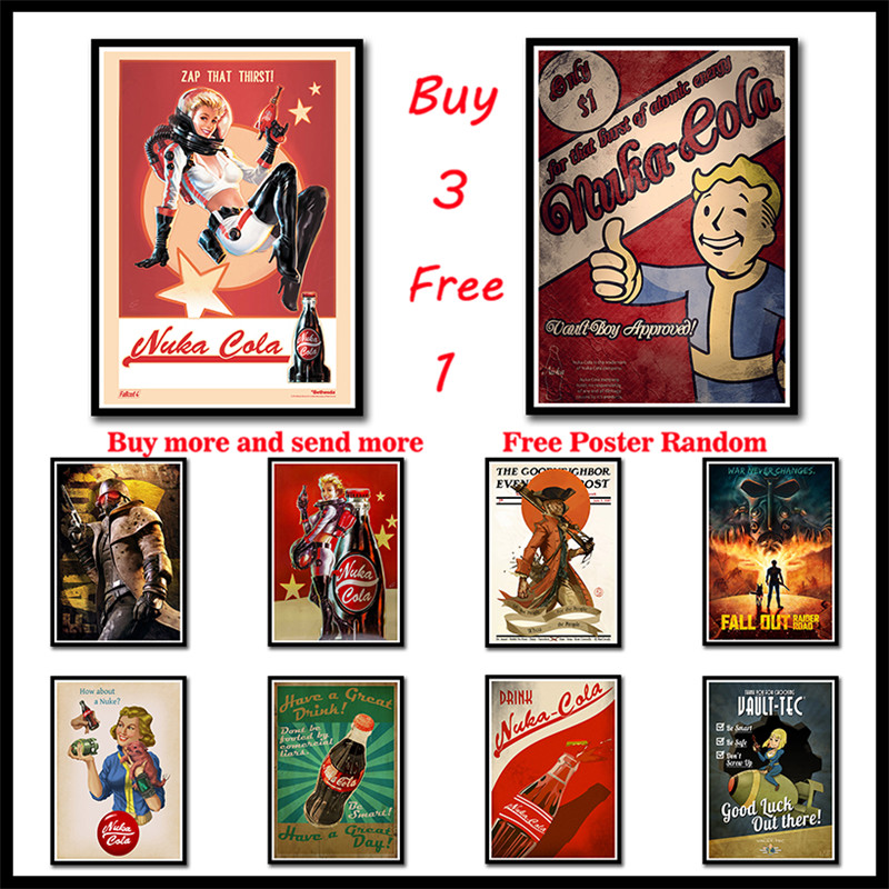 Fallout Game Poster Bar Kids Room Home Decor Game Drawing Coated Paper Wall Sticker Decoration Wall Decals Frameless image