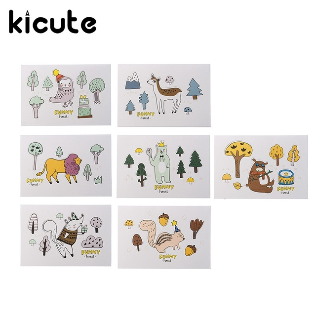 kicute funny forest animals cartoon 3d greeting card postcard birthday gift card set message card letter - Birthday Gift Card