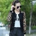 2016 Nova Primavera roupas jaqueta de Beisebol das mulheres casuais longo-Estampa de Leopardo de mangas compridas casaco camisola hoodies Plus Size 3XL B161