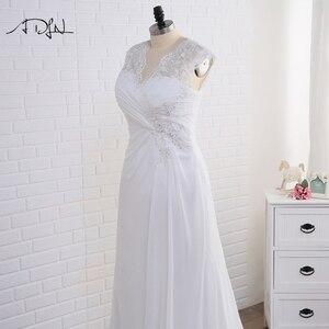 Image 3 - Adln Voorraad Plus Size Trouwjurken Elegante V hals Wit/Ivoor Applique Kralen Chiffon Strand Bruidsjurk Vestidos De Novia