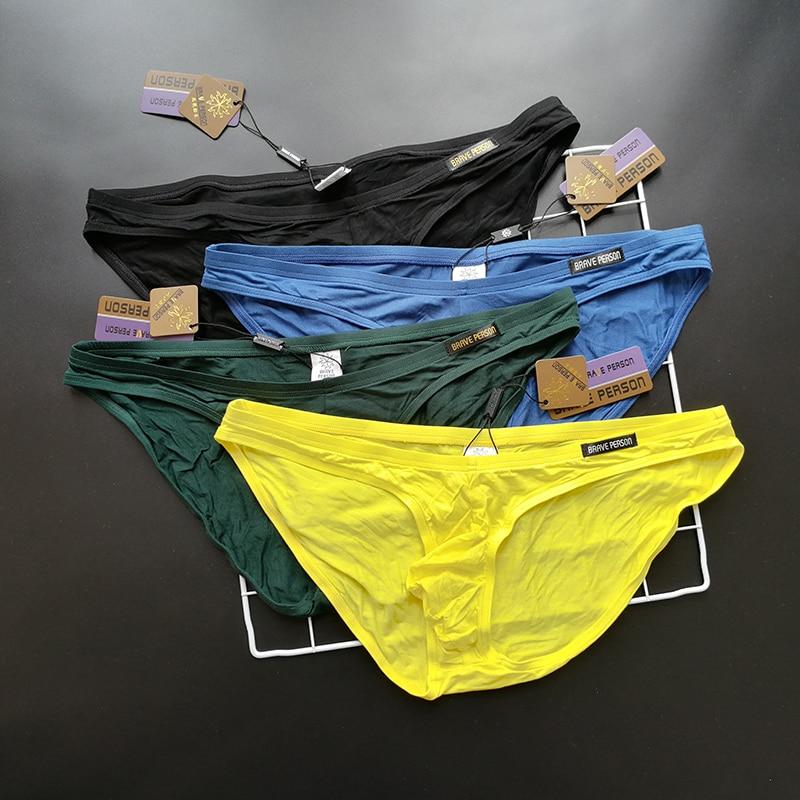4Pcs/lot Pack Brave Person Briefs Men Low Rise Sexy U Convex Pouch Soft Brief Underwear Mens Stretch Breathable Briefs 1112D