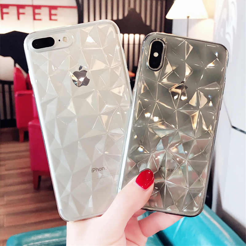 d992ff30d48f9 For iPhone 5 6 6S 7 8 Plus X Case Fashion Geometric 3D Diamond Rhombus  Transparent Soft TPU Phone Cases For iPhone XS Max XR Gel