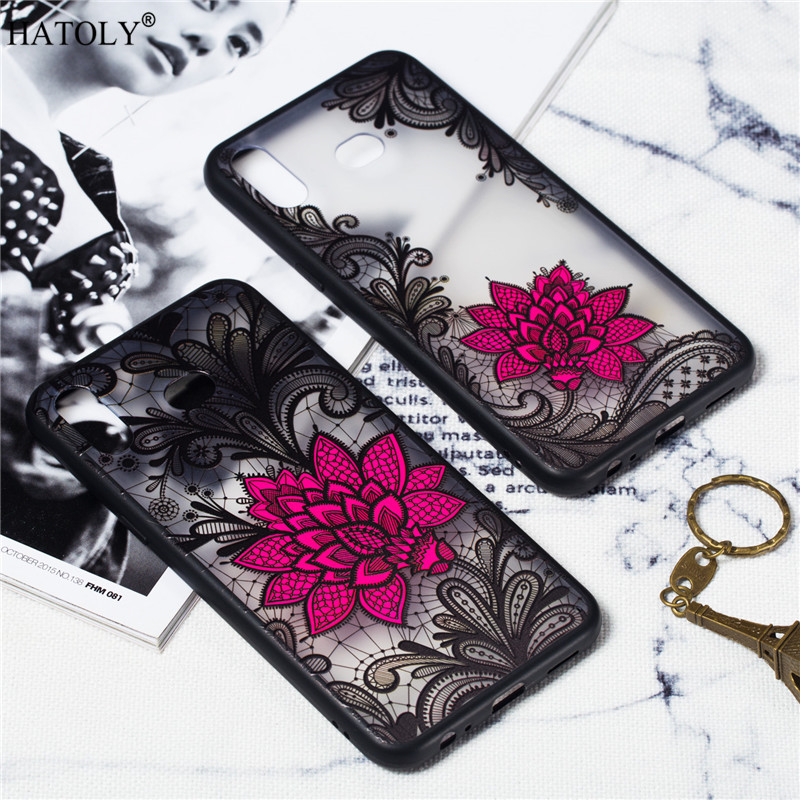 For Samsung Galaxy A6s Case Cover Silicone Phone Case For Samsung Galaxy A6s Cover Lace Rose Flower Case For Samsung A6s Hoesje in Fitted Cases from Cellphones Telecommunications