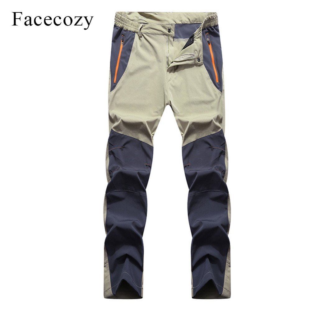 Facecozy Men Summer Breathable Hiking Fishing Pants Quick Dry Outdoor Sport Pants Elastic Thin Anti-UV Trousers Male Pantolon sokotoo men s fashion slim fit plaid horse print jeans male elastic thin denim pants long trousers free shipping