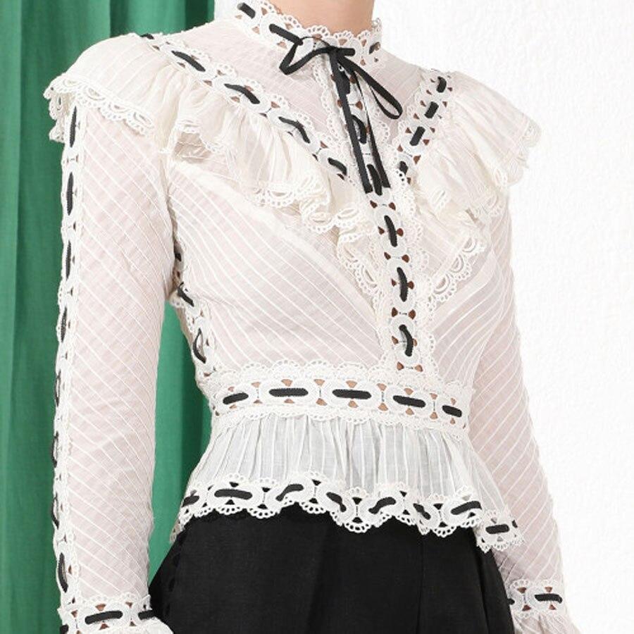 2019 date femmes Patchwork Blouse haut à manches longues broderie mode chemise haut pour femme dame chemises haute qualité coton hauts
