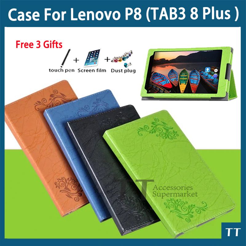 Stand Pu leather case For Lenovo TAB 3 8 Plus TB-8703F TB-8703N 8.0tablet pc TAB3 8 Plus TB-8703 cover+screen protector+stylus ultra slim 3 folder silk grain folio stand pu leather cover case for lenovo p8 tab 3 8 plus tb 8703 tb 8703f tb 8703n tablet