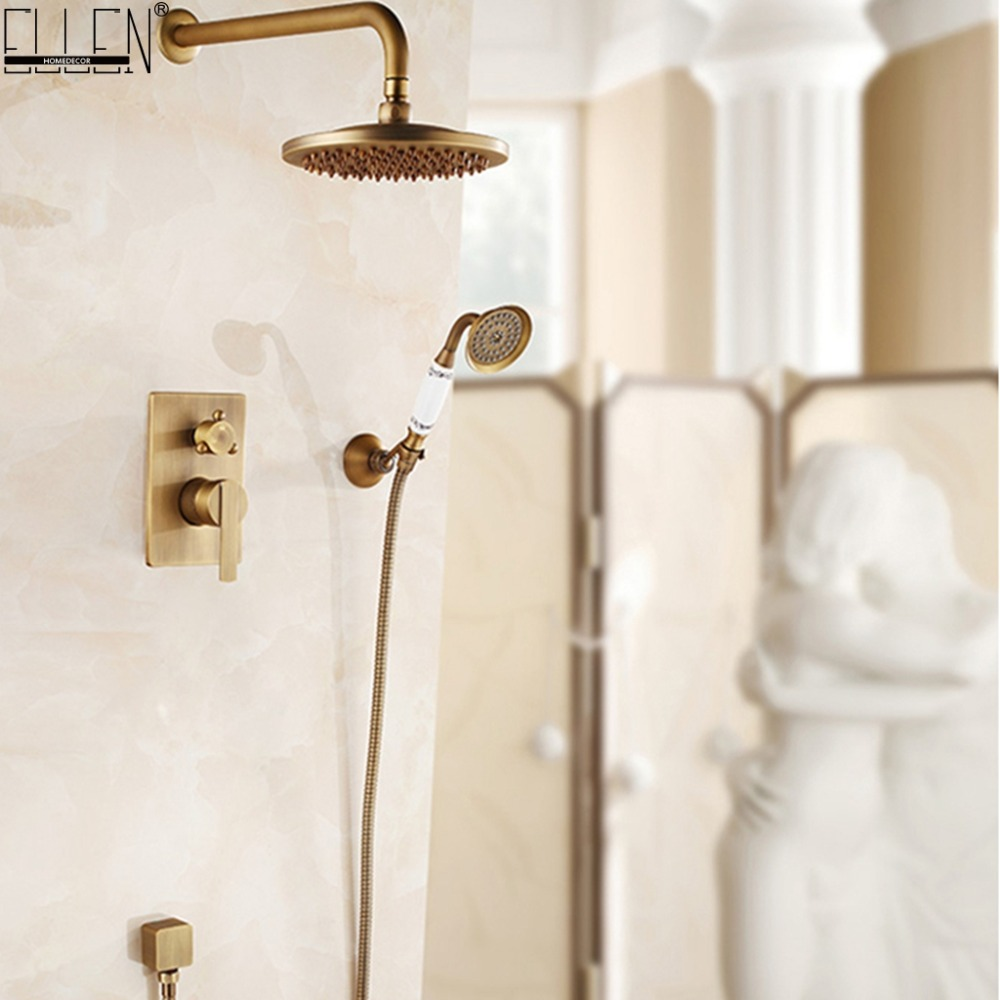 InWall Mounted Shower Set Bath Shower System Antique Bronze Oil Rubble Bronze Finished In-wall Bath Shower Hot and Cold ELS10 beautiful winter river and trees print bath decor shower curtain