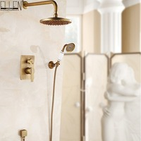 InWall Mounted Shower Set Bath Shower System Antique Bronze Oil Rubble Bronze Finished In wall Bath Shower Hot and Cold ELS10