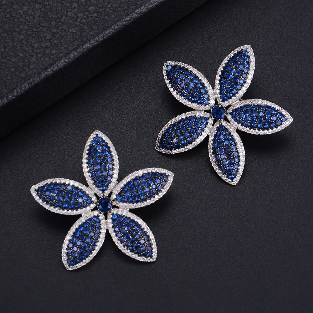 36mm Lovely Plant Flower Shape Full CZ Stud Earrings For Bridal Engagement Earrings Jewelry