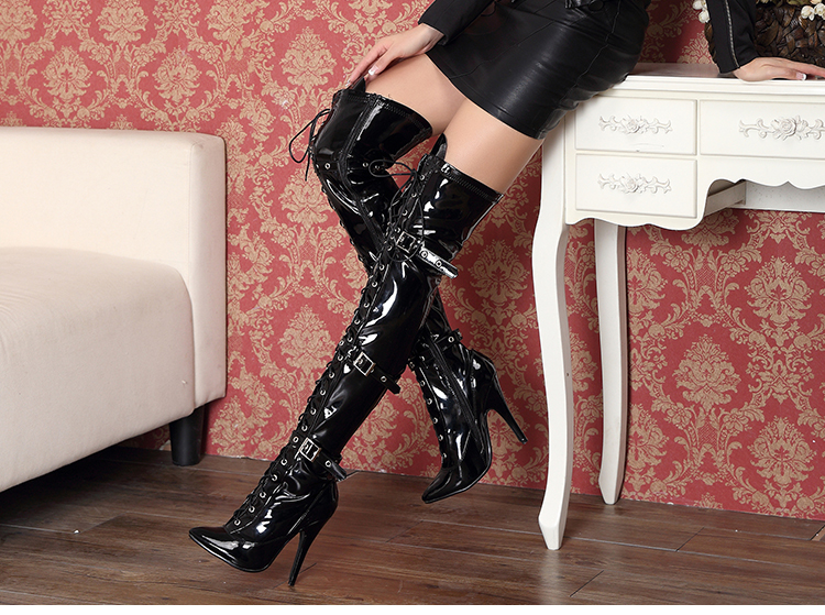 12cm cross-bandage slim sexy high-heeled patent leather boots big size 5-13 - black
