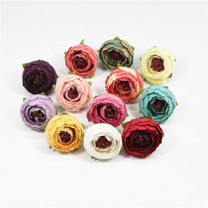 5PCS/lot 3 cm cloth simulation rose bud artificial flowers home decoration artificial wedding handmade flowers small tea bags