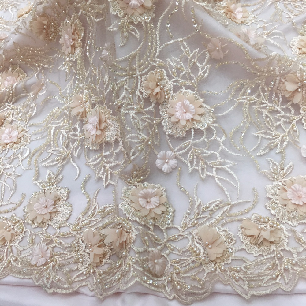 peach lace fabric 2019 high quality cream 3d flowers with beads for gorgeous occassion design party wedding dress