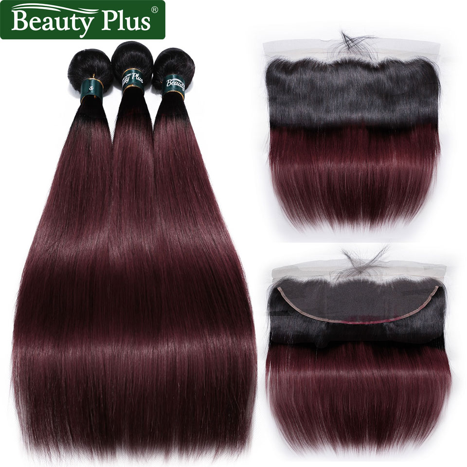 Bundles With Frontal Burgundy Ombre Human Hair Weave Pre Plucked Ear To Ear 13x4 Closures Beauty