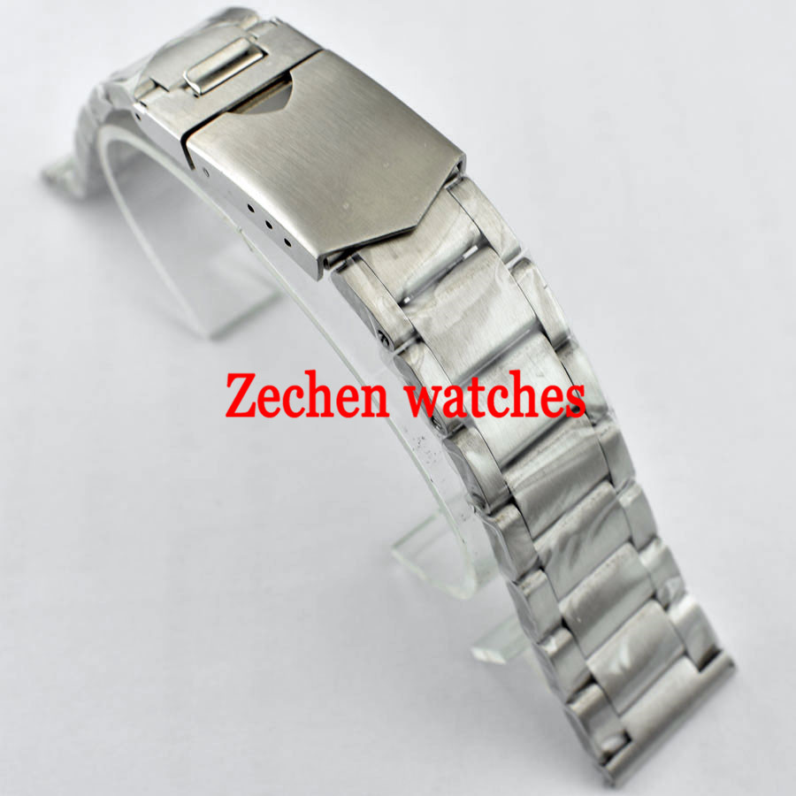 Corgeut 22mm 316L Solid Stainless Steel Bracelet Silver Watch Strap Bands 22mm solid stainless steel wristband watch bracelet silver polishing new band for armani ar0399 316l stainless steel