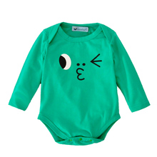 baby boys rompers jumpsuit long sleeve cute facial expression newborn romper 2017 autumn green funny boy body suit baby clothes