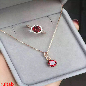 KJJEAXCMY boutique jewels 925 pure silver inlaid with natural garnet female pendant ring 2 pieces of gold and silver color.