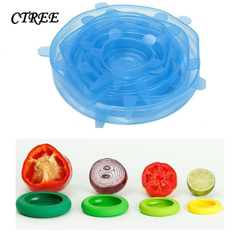 CTREE 6Pcs/set Health Silicone Suction Bowl Cover Elastic Multifunctional Cling Film Leakproof Fresh Covers Kitchen Gadgets C835