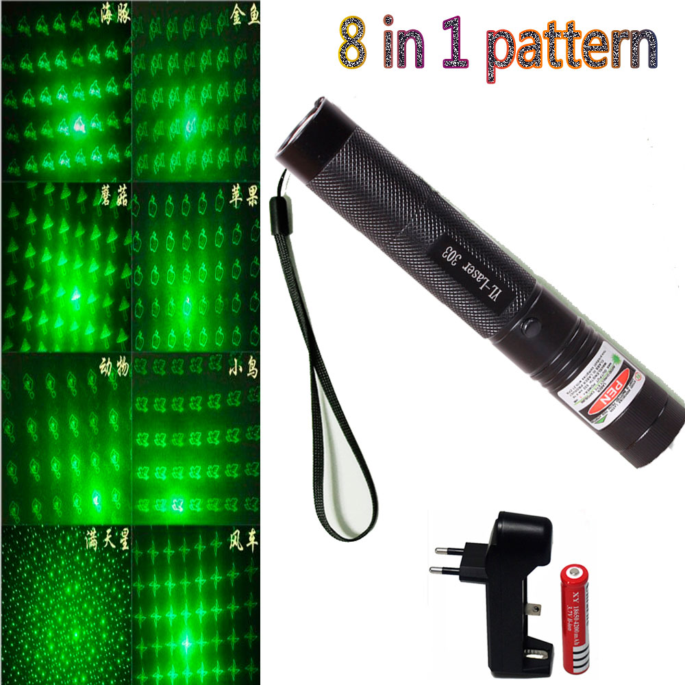 8 in1 Green Laser Pointer dot 532nm 5mW 303 Laser Pen Adjustable Powerful Starry Head Burning Match With 18650 Battery+Charger zk30 top laser 303 green laser pointer adjustable focal length and with star pattern filter with 18650 battery charger and a box