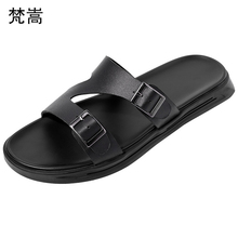 High Quality mens slippers summer fender men genuine leather Flip Flops casual Shoes beach outdoor anti-skid