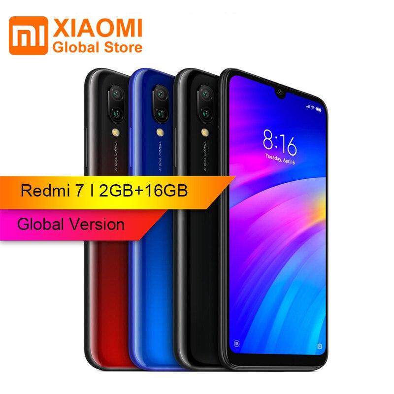 Version globale Xiaomi Redmi 7 2 GB RAM 16 GB ROM Snapdragon 632 Octa core 4G téléphone portable 6.26 pouces 12MP + 2MP double caméra arrière