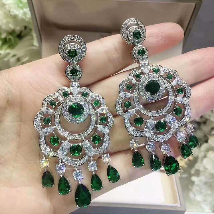 True 925 clous d'oreilles en argent sterling strass fleurs frange clous d'oreilles haut de gamme bijoux mousseux pour les femmes