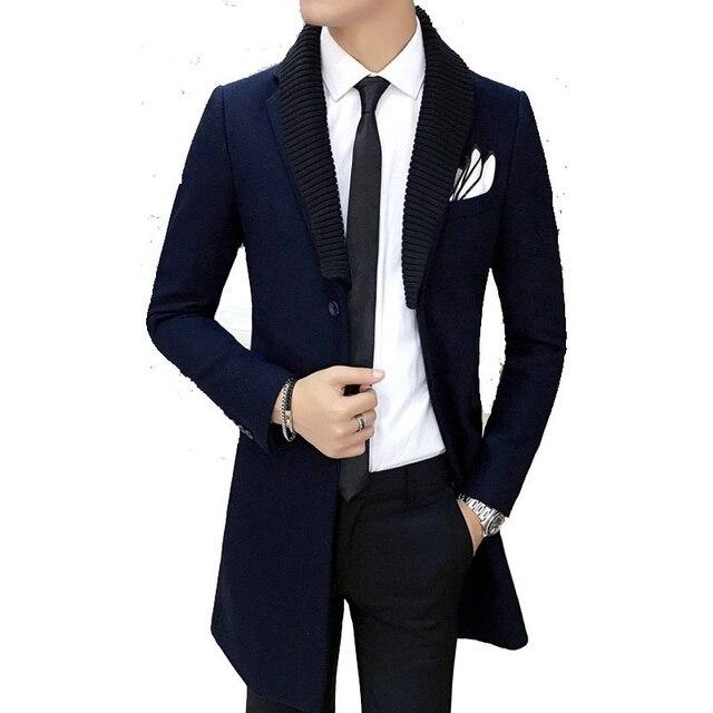 2016 высокое качество шерсти тощий траншеи Мужчины однобортный Траншеи Пальто Мужчины Верхняя Одежда Повседневная мужская Куртка Ветровка