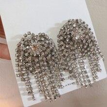 2019 womens earring luxury Big statement Earrings boho Crystal Brincos Stud tassel earrings fashion jewely