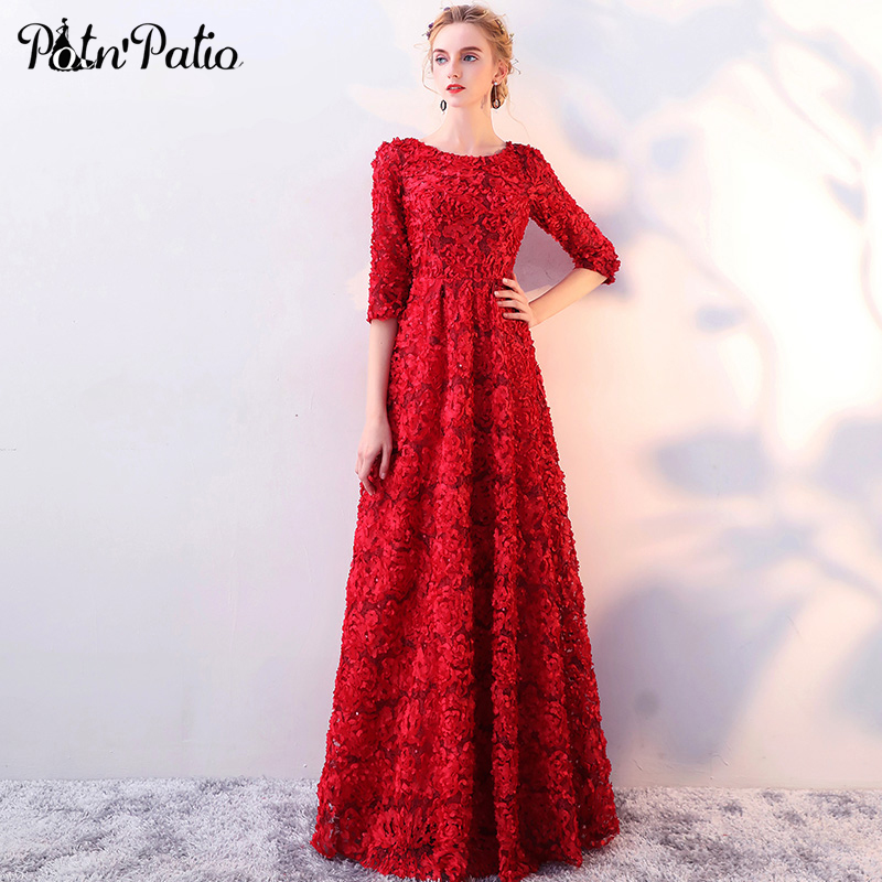 Wine Red Lace Evening Dresses 2018 New O neck With Half Sleeves Flower A line Floor